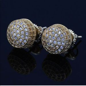 Micropave Screw back Gold Round Men Earrings NEW